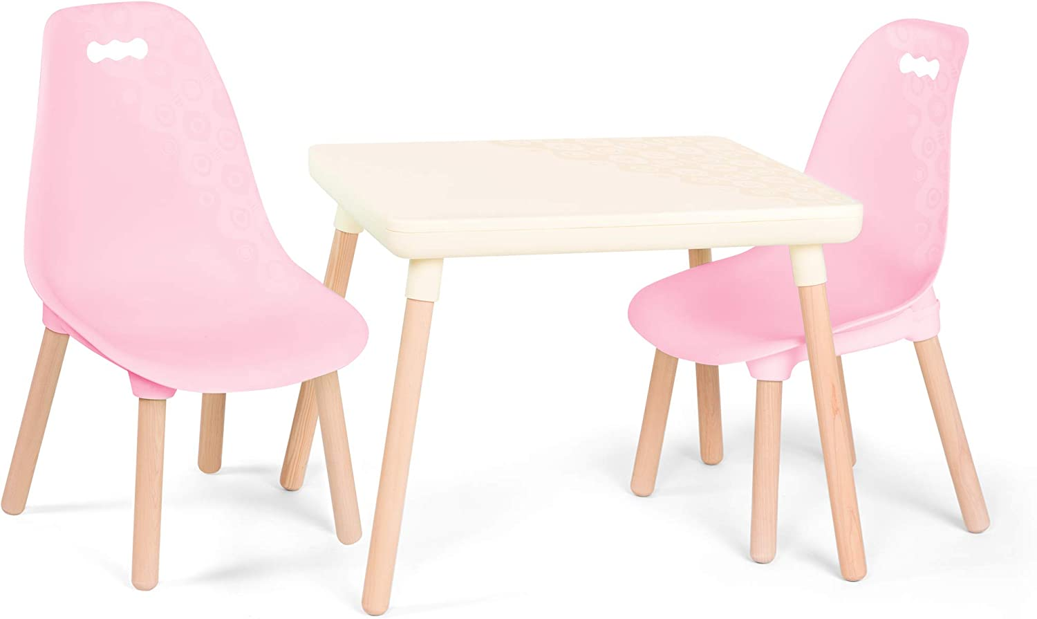B. spaces – Kids Table and Chair Set – 1 Craft Table & 2 Kids Chairs – Natural Wooden Legs – Furniture for Kids – Pink & Ivory – 3 Years +