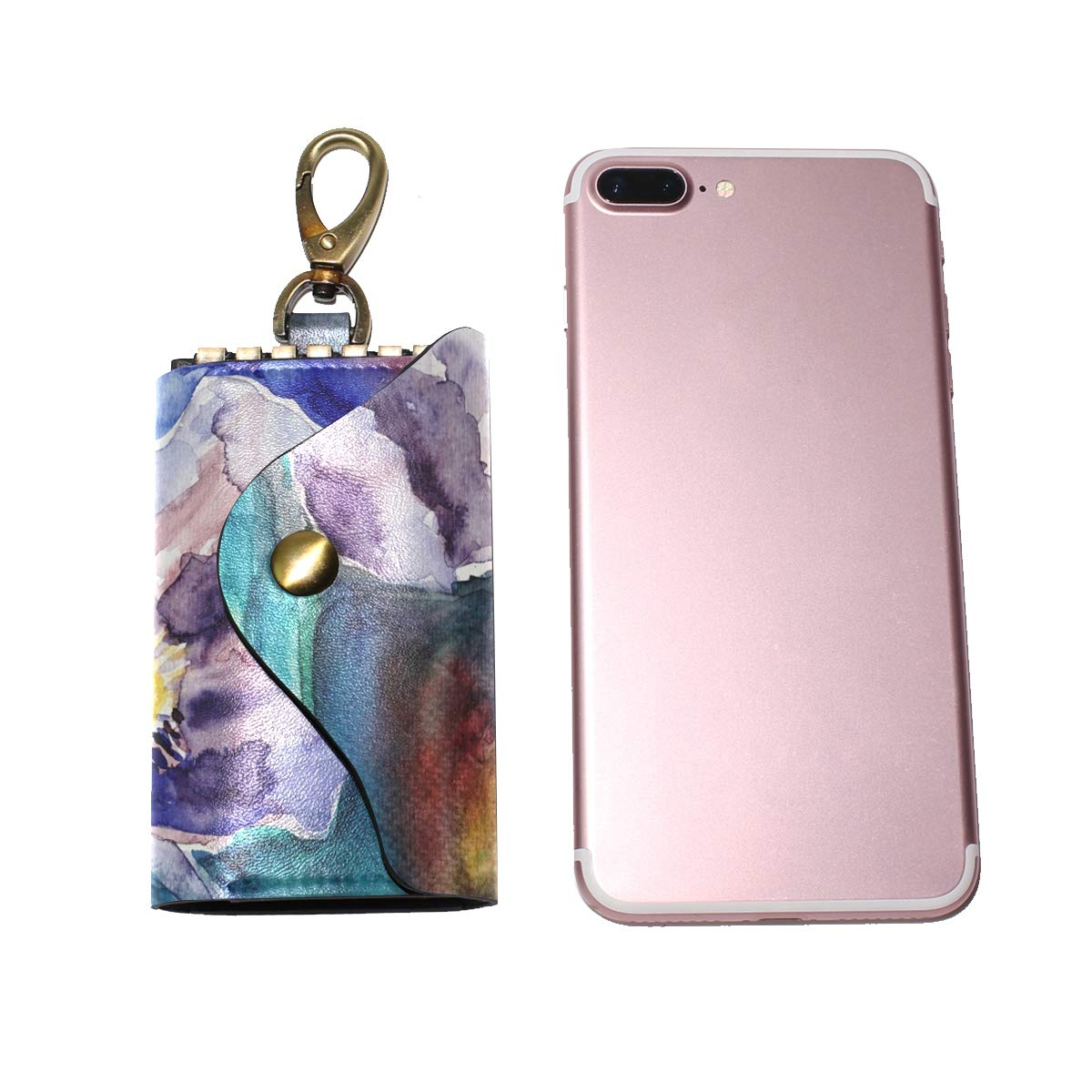 KEAKIA Flowers Painting Leather Key Case Wallets Tri-fold Key Holder Keychains with 6 Hooks 2 Slot Snap Closure for Men Women