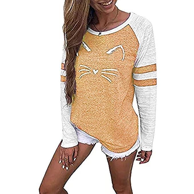 ca4effdf89f9 HWTOP T-Shirt Tops Bluse Für Damen Mode Oberteil Langarmshirt Hemd Bluse  Pullover Streifen Katze Drucken Sweatshirt O-Ausschnitt Tops Frauen Lose  Oben ...