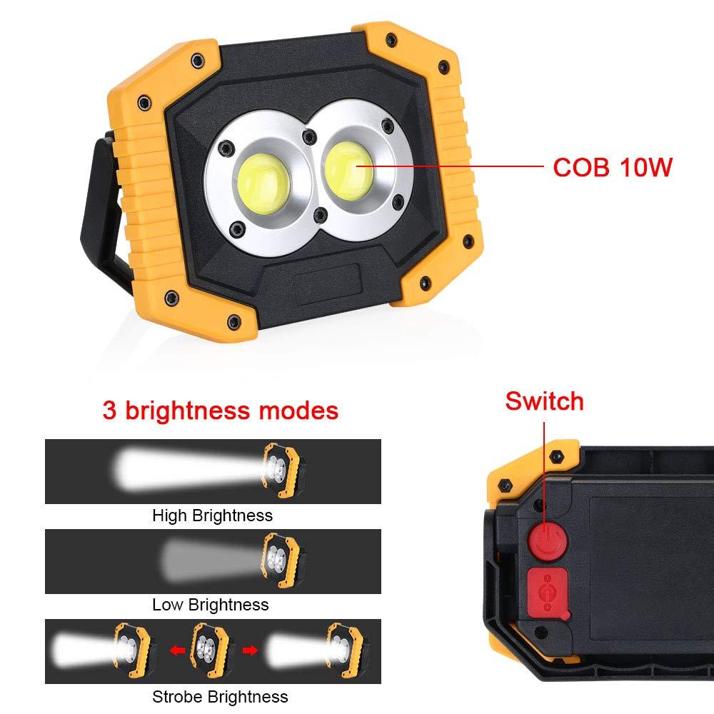 flintronic Foco LED Recargable COB Luz de Trabajo Port/átil 3 Modos 20W/&1500LM Resistente al Agua Bater/ías Recargables Incorporadas