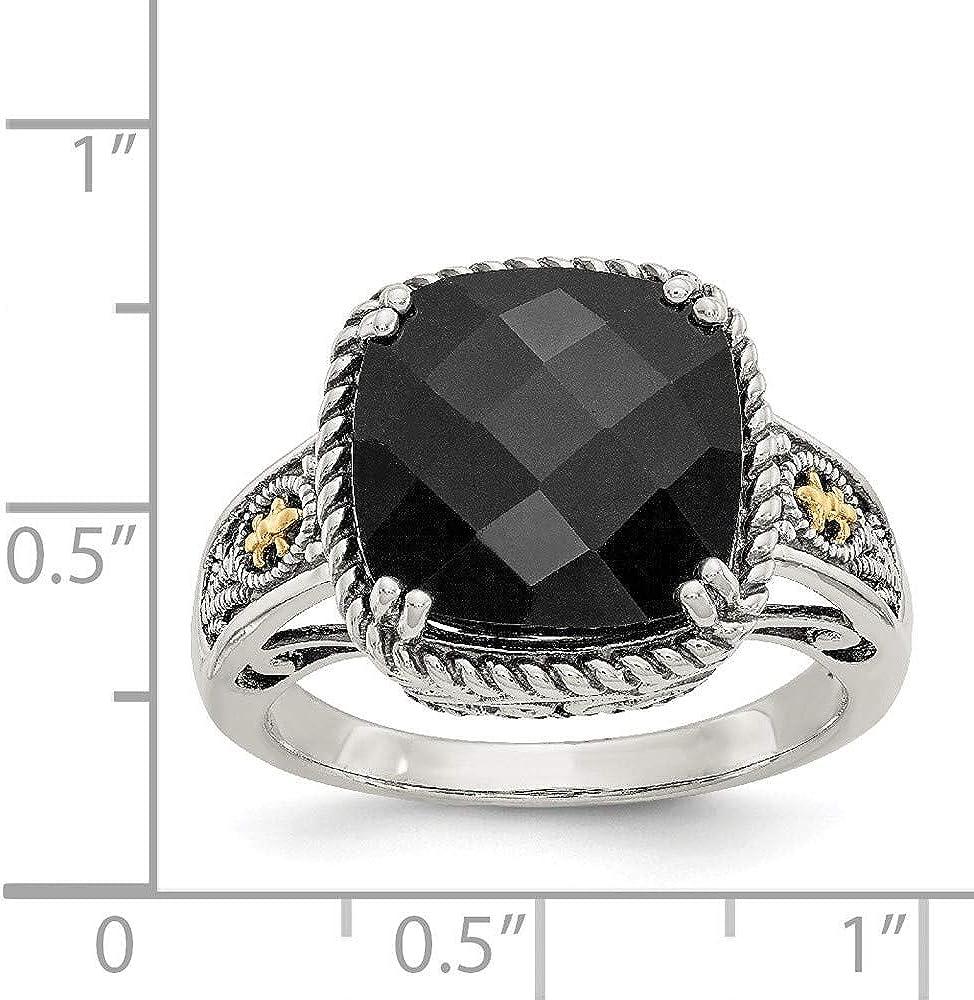 Antique Style Sterling Silver 925 Round Black Onyx CZ Swirl Skeleton Key Pendant