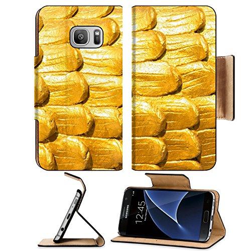 Luxlady Premium Samsung Galaxy S7 Flip Pu Leather Wallet Case IMAGE 20915152 Dragon scales - Part Image Temple Body