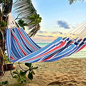 Stripe Foldable Double Size Hammock Without Wooden Stick up to 460 Lbs (Red Blue)