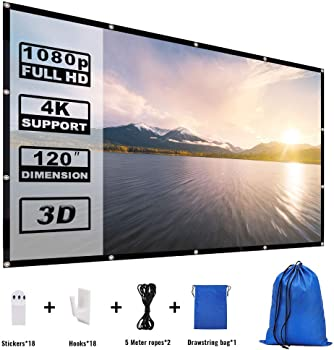 Yome 120 Inch 16:9 HD Foldable Portable Movie Projector Screen
