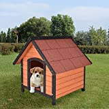 TANGKULA Dog House Pet Outdoor Bed Wood Shelter Home Weather Kennel Waterproof 4 Size (M with Grid line)