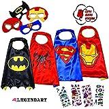 LAEGENDARY Superhero Costumes for Kids - 4 Capes and Masks - Glow Superhero Logo