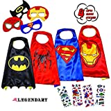 LAEGENDARY Superhero Costumes for Kids - 4 Capes and Masks - Glow Superhero Logo