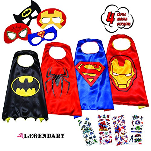[LAEGENDARY Superhero Costumes for Kids - 4 Capes and Masks - Glow Superhero Logo] (Hero Costumes For Men)