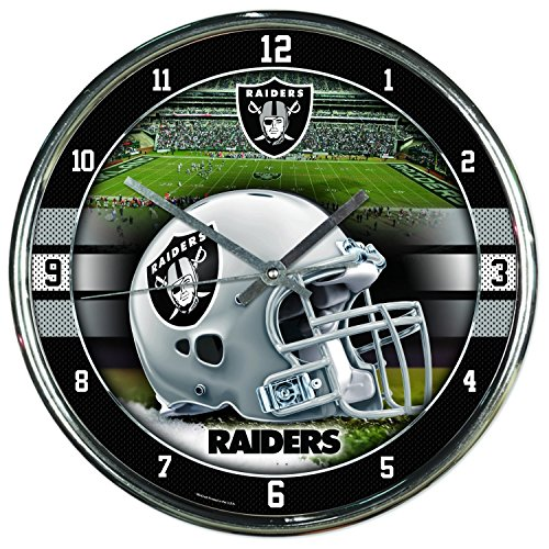 Clock Nfl Chrome - Wincraft NFL Oakland Raiders Chrome Clock