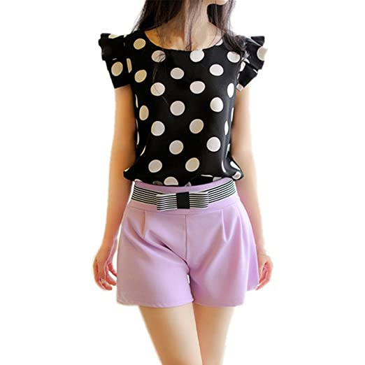 Mercu Women Polka Dot Casual Tee Ruffled Shirt Chiffon Tops Fitted Work Blouse at Amazon Womens Clothing store: