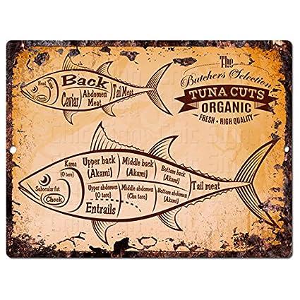 Fish Tuna Cuts Guide Chart Rustic Retro Vintage Kitchen Wall Decor  9u0026quot;x12u0026quot; Metal