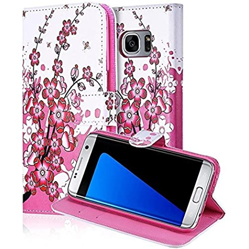 Galaxy S7 Edge Case, TabPow Classic Pink Cherry Blossom Series - [Card Holder] Flip Magnetic PU Leather Wallet Case Cover For Samsung Galaxy S7 Edge Sales