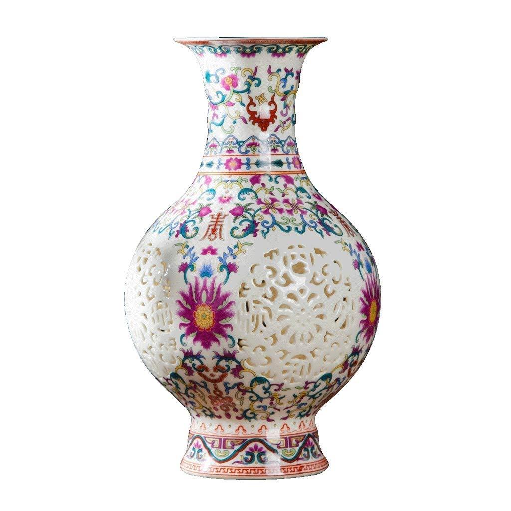 シックな花瓶 花瓶HJBH 1906015セラミックジュエリークリエイティブ中空フラワーインサータ現代ホームリビングルームの装飾15センチ×25センチ 写真シックな花瓶シリンダー花瓶、装飾用花瓶 B07SNFQXRT