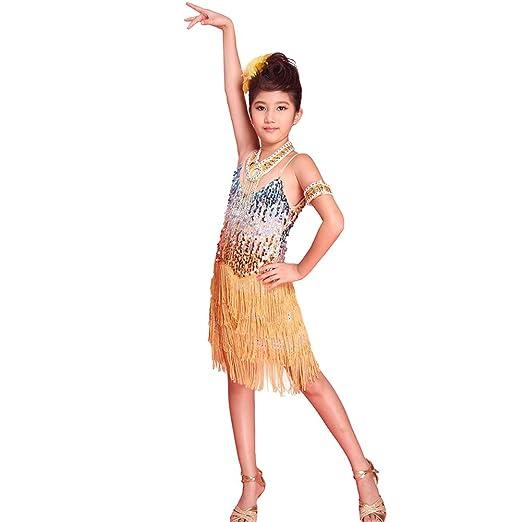 c4ce87f39a73f Hougood Robe Danse Fille Vetement Danse Latine Enfants Glands Paillettes  Robe de Soirée Salsa Samba Tango Costumes de Danse  Amazon.fr  Sports et  Loisirs