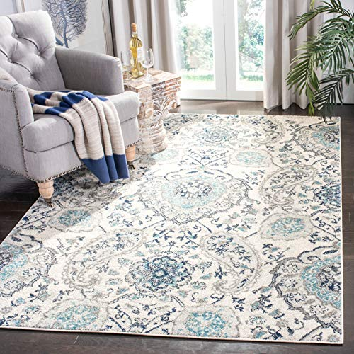Safavieh Madison Collection MAD600C Cream and Light Grey Bohemian Chic Paisley Area Rug (3' x 5') ()