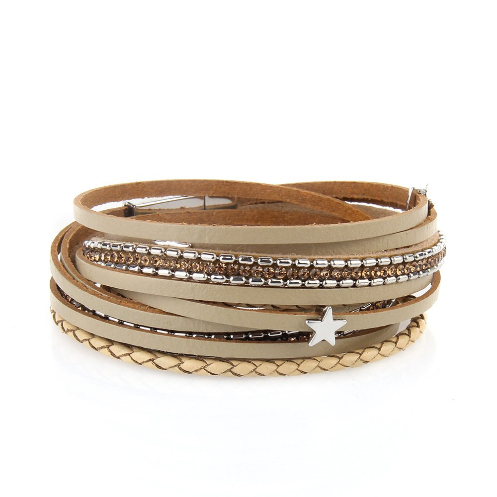 AZORA Beige Multilayer Leather Wrap Bracelet Crystal Star Braided Cuff Bangle Bracelets with Magnetic Clasp Handmade Jewelry for Women Teen Girls