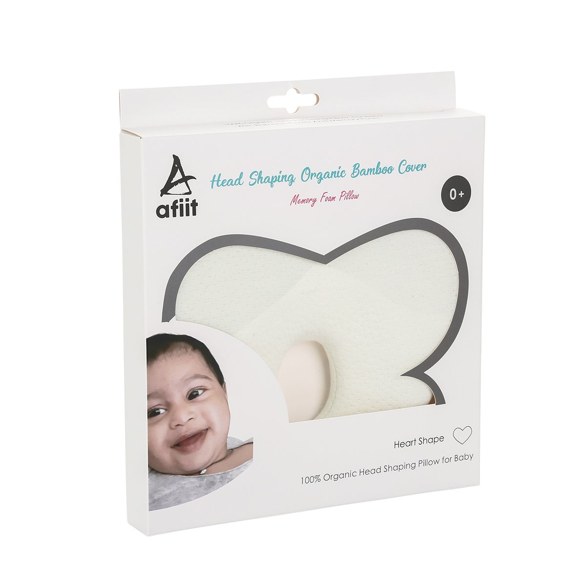 Head Shaping Baby Pillow Prevent Flat Head Syndrome Protection for Anti Plagiocephaly Newborn Memory Foam Pillow with Organic Bamboo Cover Toddler Pillow Breathable Soft Antibacterial Cushion for Head and Neck Support & Improve Infants Posture Heart Shape
