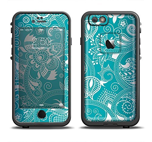 The Turquoise Fancy White Floral Design Skin Set for the Apple iPhone 6 LifeProof Fre Case (Skin Only)