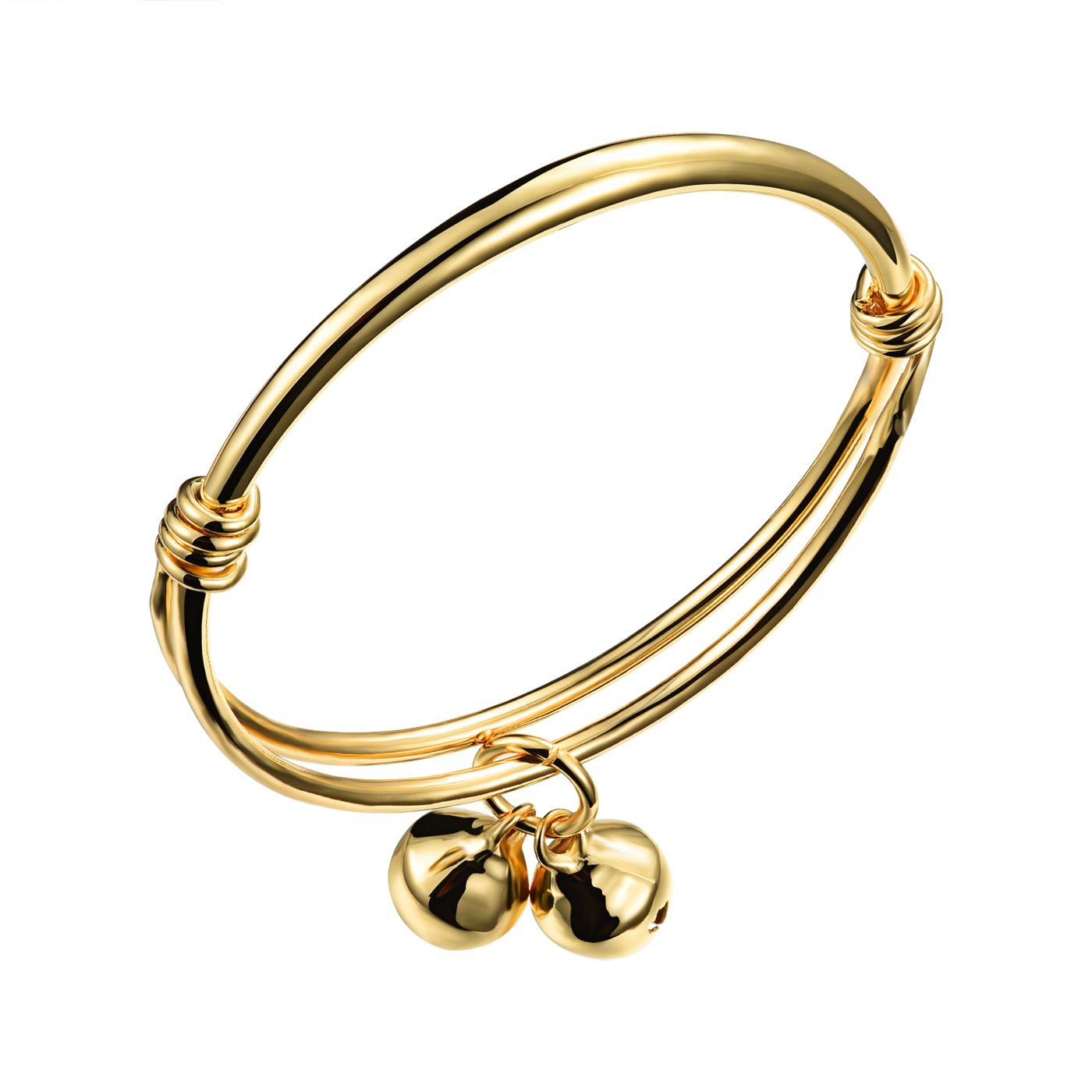 OPK Jewelry 18k Gold Plated Expendable Bangle Bracelet with Two Bells for Unisex Baby, High Polished
