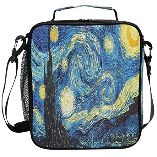 Wamika Retro Blue Van Gogh Starry Night Lunch Box Insulated Lunch Bag Large Freezable Halloween Castle Night Stars Sky Lunch Bag Tote Cooler Lunch Meal with Shoulder Strap -