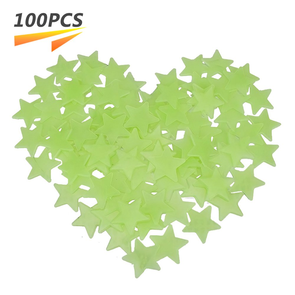 Glow in The Dark Star Stickers 3D Glowing Ultra Bright Stars Perfect for Kids Bedding Room Wall and Ceiling Decors (100pcs, Light Green) Paul Harden