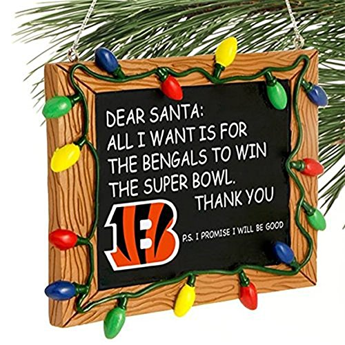 Cincinnati Bengals Official NFL 3 inch x 4 inch Chalkboard Sign Christmas Ornament by Forever Collectibles