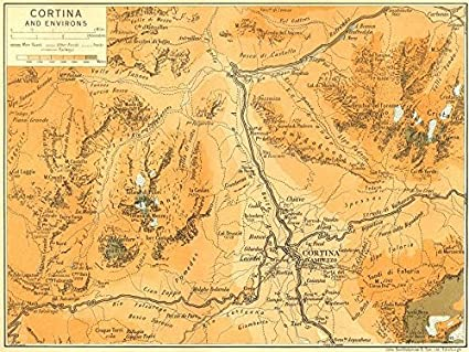 Amazon.com: Cortina and Environs. Dolomites - 1953 - old map ... on