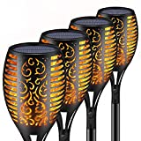 Tooklanet Solar Torch Light Flickering Flames Waterproof Landscape Lighting Led Pathway Dusk to Dawn Auto On/Off Christmas Gadge Path Light for Yard, Garden, Outdoor Party and Festival Decora