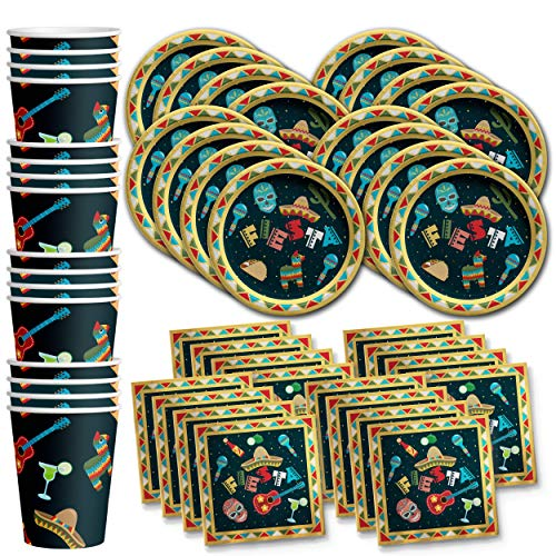 Mexican Fiesta Birthday Party Supplies Set Plates Napkins Cups Tableware Kit for 16 ()