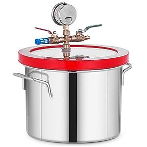 Bestauto 1.5 Gallon Vacuum Chamber Stainless Steel Vacuum Degassing Chamber Glass Lid Degassing Chamber Silicones Kit for Degassing Resins, Silicone and Epoxies