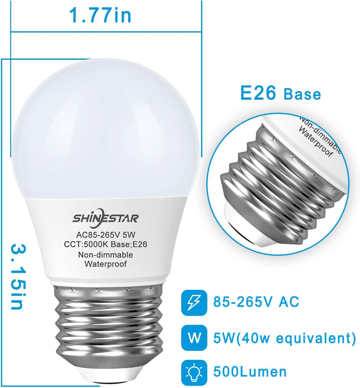 450 Lumen 5W Daylight 5000K E26 Medium Base LED Refrigerator Light Bulb 40W Equivalent A15 Appliance Fridge Bulbs Small Size Bulb Not Dimmable 2-Pack for Damp Location Waterproof