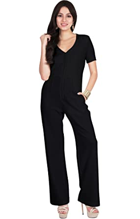 1a79f2d5d5b Amazon.com  Viris Zamara Womens Long Sexy V-Neck Short Sleeve Front Zip  Slimming Pockets Casual Jumpsuit  Clothing