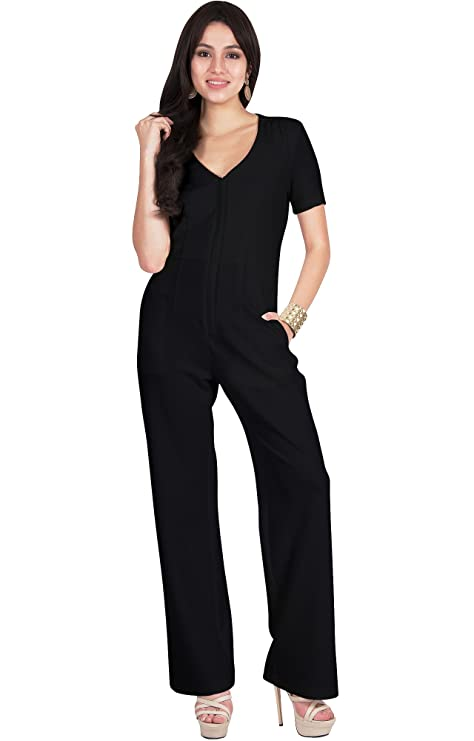 33e371a4d8a39 Amazon.com  Viris Zamara Womens Long Sexy V-Neck Short Sleeve Front Zip  Slimming Pockets Casual Jumpsuit  Clothing