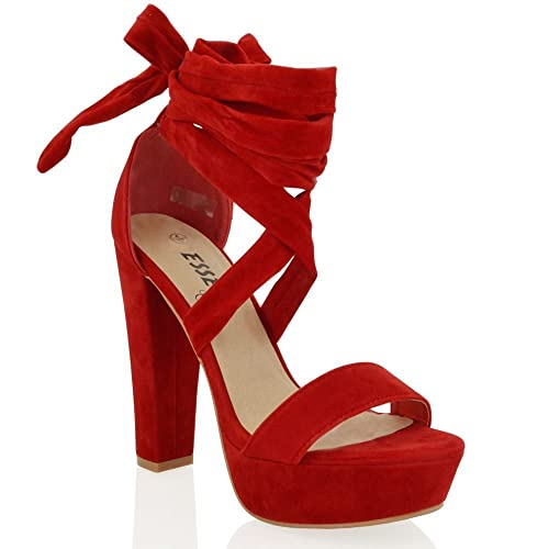 efd697804c3 ESSEX GLAM Womens red Faux Suede tie up high Block Heel Sandals 6 B ...