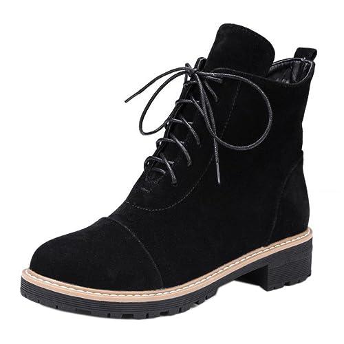 RAZAMAZA Botines Clasicos con Cordones para Mujer: Amazon.es: Zapatos y complementos