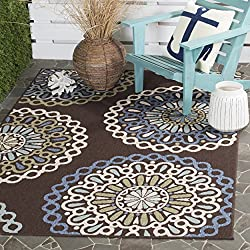 "Safavieh Veranda Collection VER092-0625 Indoor/ Outdoor Chocolate and Blue Contemporary Area Rug (4' x 5'7"")"