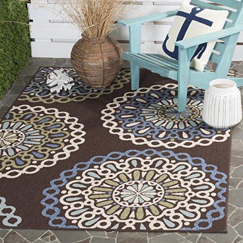 Safavieh Veranda Collection VER092-0625 Indoor/ Outdoor Chocolate and Blue Contemporary Area Rug (4