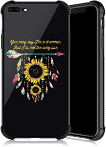 DAHAOGUO iPhone 8 Plus Case, Sunflower Heart ArrowPattern Tempered Glass iPhone 7 Plus Cases for Girls[Anti-Scratch] [Anti Fall]Elegant and Luxury Design Cover Case for iPhone 7/8 Plus (5.5inch)