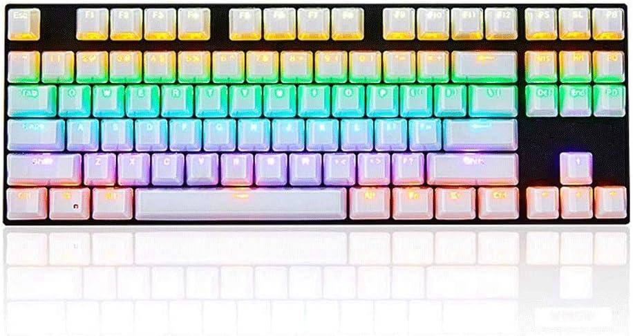 Waterproof 26 Keys Without Punching 87 Keys Rainbow Backlit Mechanical Keyboard ZCD Gaming Keyboard USB Gaming Esport Keyboard Green Axis