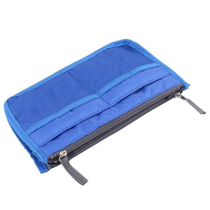 Amazon.com: eDealMax Nylon Con cierre de cajón divisores del organizador cosmético embalaje equipaje del recorrido del almacenaje del bolso Azul Oscuro: ...