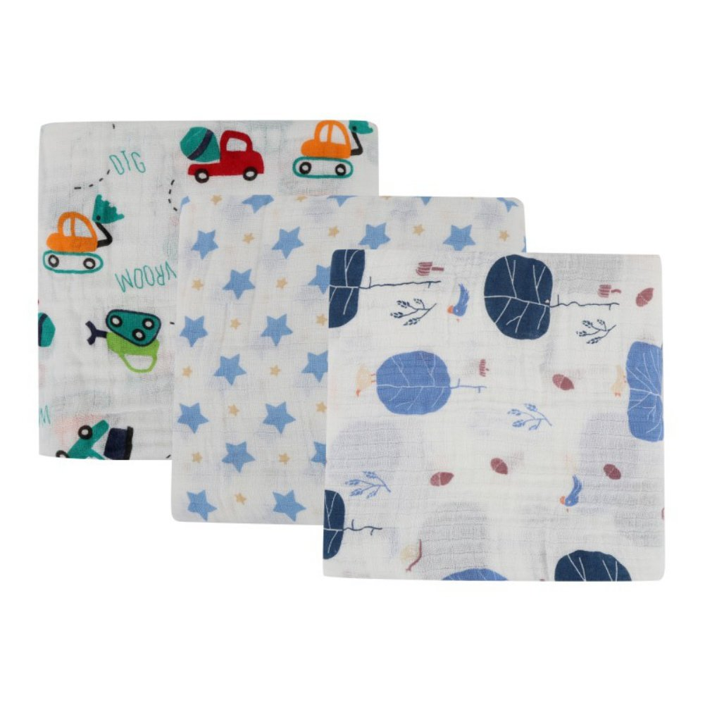 BOBORA Infant Baby Muslin Swaddle Blankets, Unisex 100% Cotton Soft Wrap Bedding Blankets 120cm*120cm/47 * 47