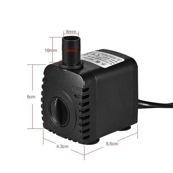 Decdeal - 600L/H 8W Bomba de Agua Sumergible con 4 Leds Luces Ultrasilencioso para Acuario Pecera Fuente de Sobremesa Hidroponía 4.9ft (1.5m) Cable de ...
