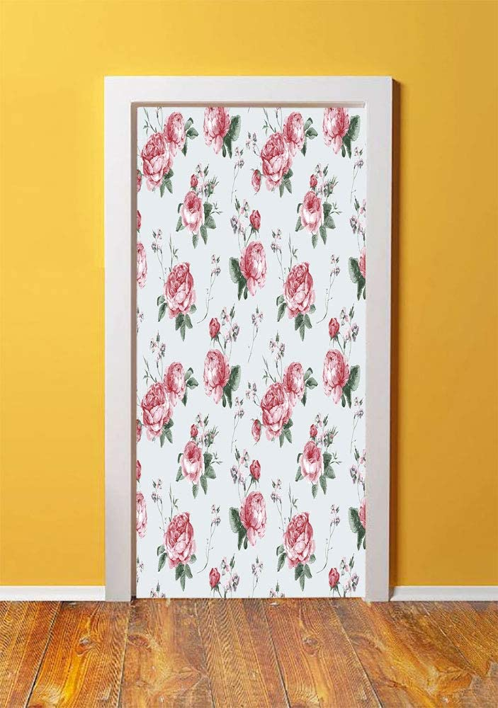 Rose 3D Door Sticker Wall Decals Mural Wallpaper,Blooming English Rose Watercolor Painting Style Garden Shabby Chic Wild Flowers,DIY Art Home Decor Poster Decoration 30.3x78.13811,Reseda Green Pink