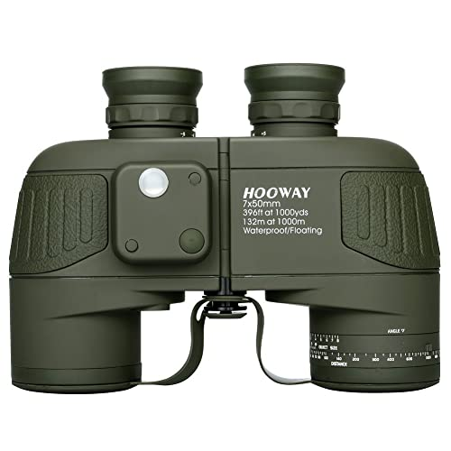 Hooway 7x50 Waterproof Floating Marine Binocular w/ Internal Rangefinder & Compass for Navigation,Boating ,Water Sports,Hunting,Bird Watching and More(Army Green