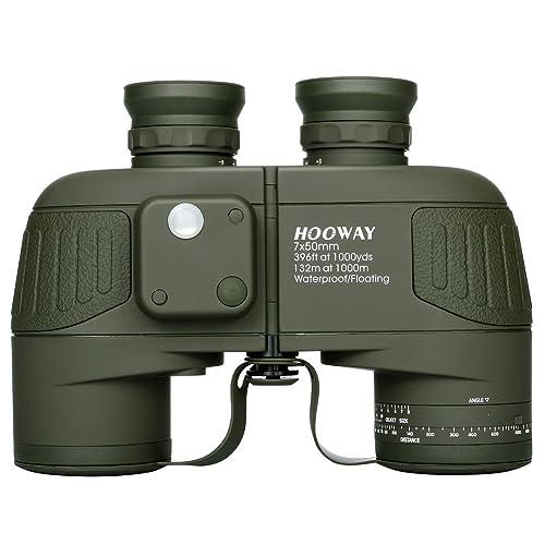 Hooway 7x50 Waterproof Floating Marine Binocular w/ Internal Rangefinder & Compass for Navigation,Boating ,Water Sports,Hunting,Bird Watching and More(Army Green