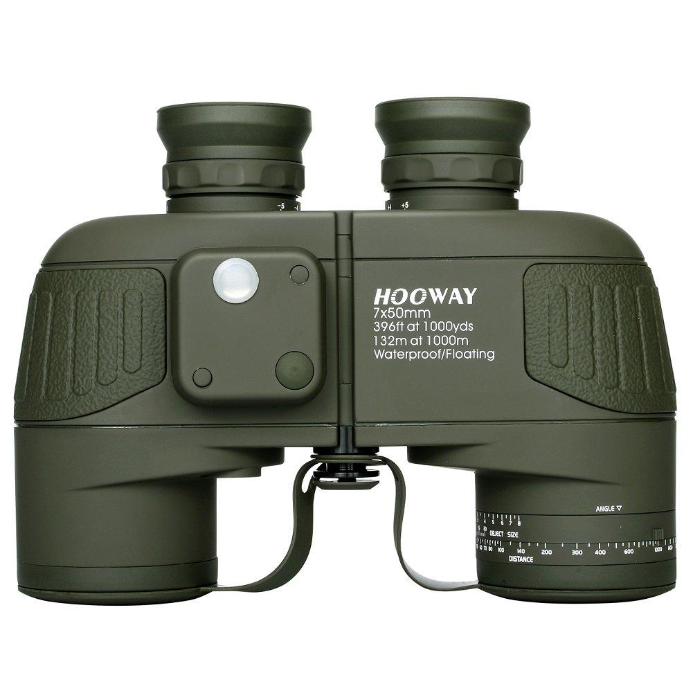 Hooway 7x50 Waterproof Floating Marine Binocular w/ Internal Rangefinder & Compass for Navigation,Boating ,Water Sports,Hunting,Bird Watching and More(Army Green) by HOOWAY