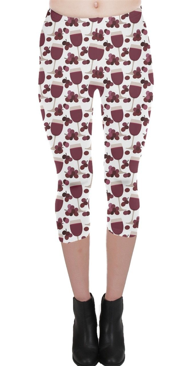 CowCow Purple Pattern with Wine Glasses Capri Leggings, X-Large