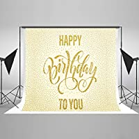 Kate 7x5ft / 2.2x1.5m Happy Birthday Backdrops for Photographers Golden Spot Background Photo Booth Studio Backdrop Photography Props HJ04234