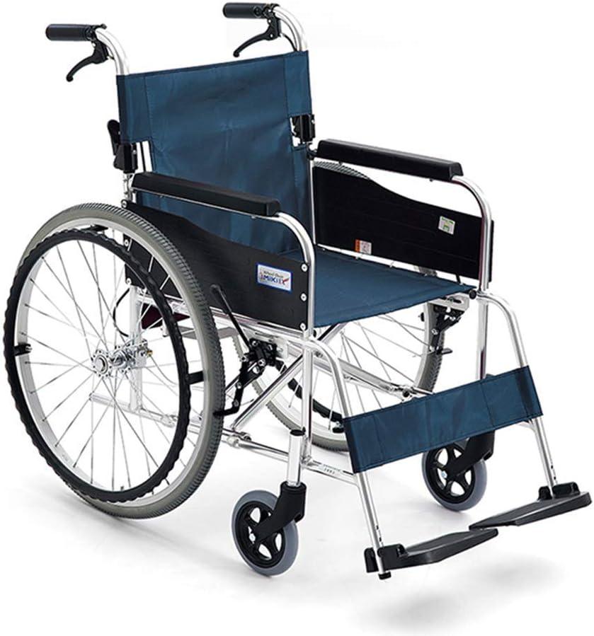 KAD Silla de Ruedas Plegable de Ancianos Pequeño Y Ligero Ultra Ligero Viejo Viaje Discapacitados en Silla de Ruedas de la Carretilla de Conducción Médica, Azul, Rojo armres/Azul