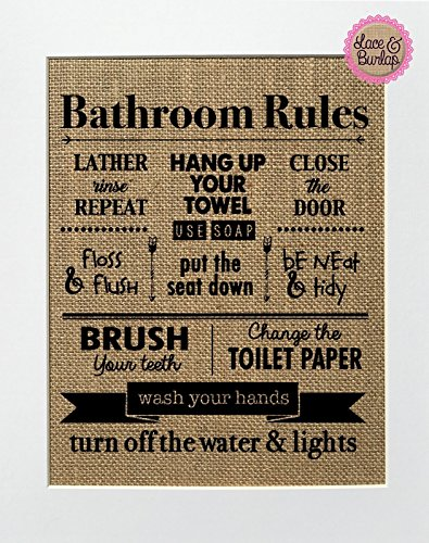 8x10 UNFRAMED Bathroom Rules / Burlap Print Sign / Rustic Co